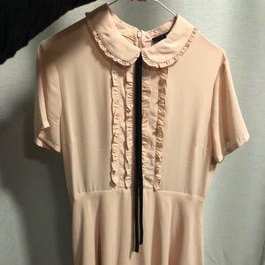 Blush pink button up dress